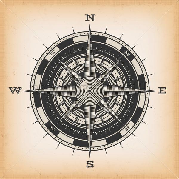 Wind Rose Compass On Vintage Background - Vectorsforall