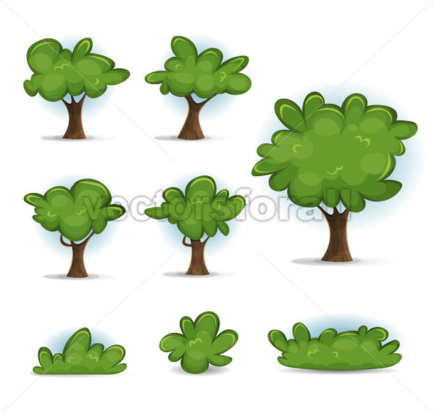 Cartoon Forest Trees, Bush And Hedges - Vectorsforall