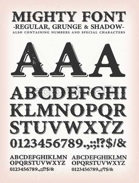 Mighty Western Font Regular, Shadow And Grunge - Vectorsforall