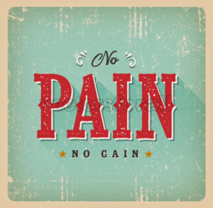 No Pain No Gain Retro Business Card - Vectorsforall