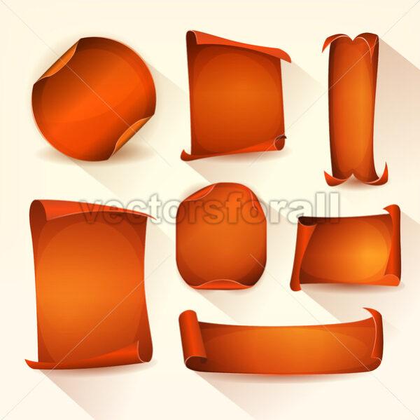 Orange Badges And Parchment Scroll Set - Vectorsforall