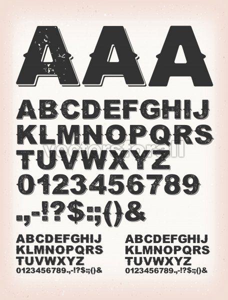 Rusty Grunge Shadow ABC Font - Vectorsforall