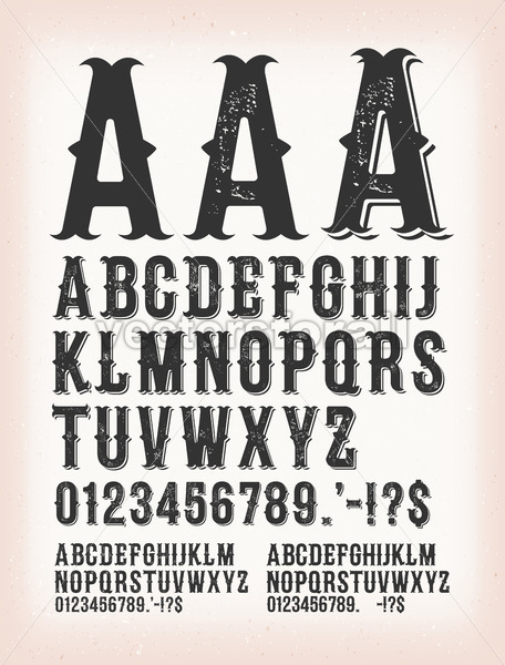 Vintage Classic Western And Tattoo ABC Font - Vectorsforall