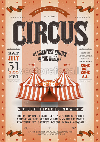 Vintage Grunge Striped Circus Poster - Vectorsforall