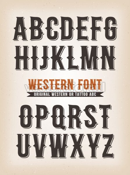 Vintage Western And Tattoo ABC Font - Vectorsforall