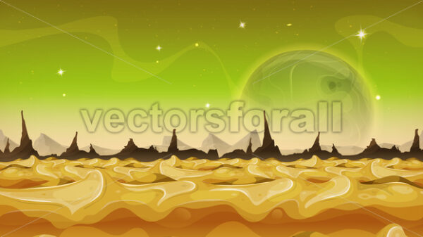 Fantasy Sci-fi Alien Planet Background For Ui Game - Vectorsforall