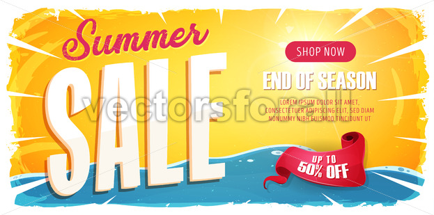 Summer Sale Wide Banner - Vectorsforall