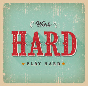 Work Hard Play Hard Retro Business Card - Vectorsforall