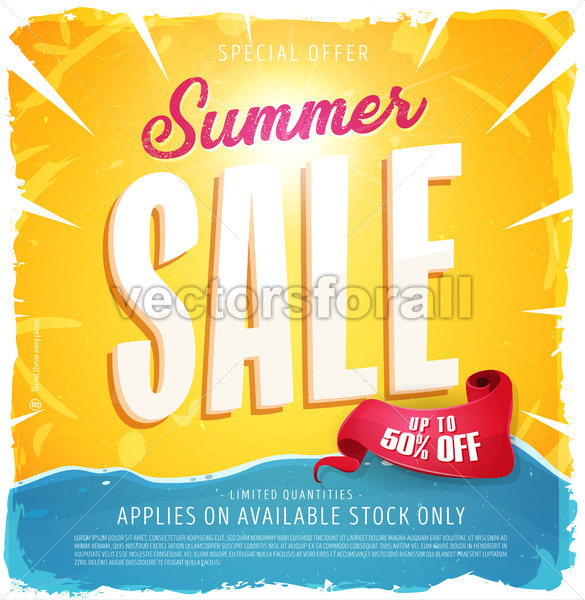 Hot Summer Sale Banner - Vectorsforall