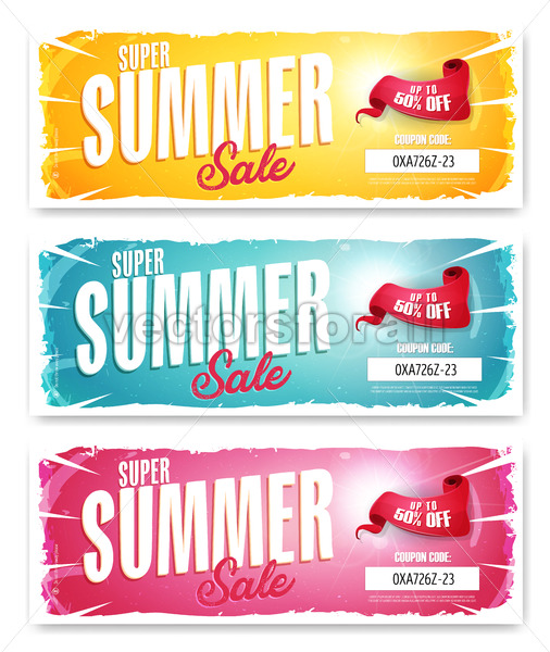 Hot Summer Sale Banner With Coupon Code - Vectorsforall