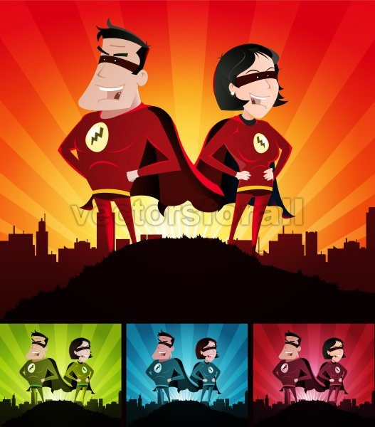 Cartoon Couple Of Super Heroes Set - Vectorsforall