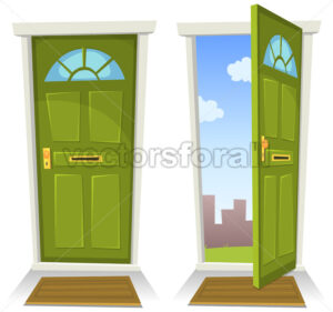 Cartoon Green Door, Open And Closed - Vectorsforall