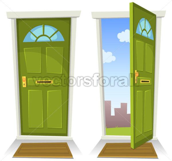 Cartoon Green Door, Open And Closed - Vectorsforall