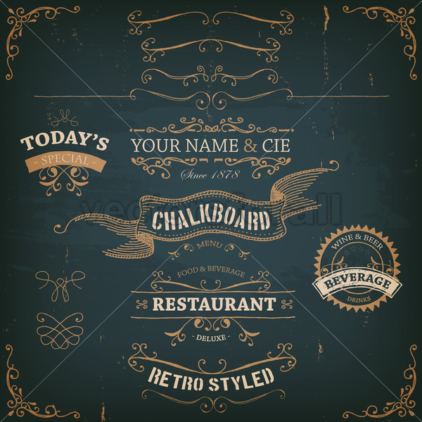 Elegant Hand Drawn Golden Banners And Ribbons - Vectorsforall
