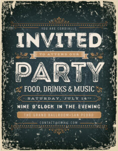 Vintage Invitation Sign On Chalkboard - Vectorsforall