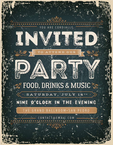 f5db4dca4cc262 Vintage Invitation Sign On Chalkboard - Vectorsforall