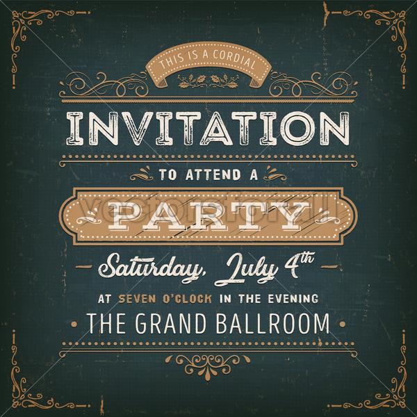 Vintage Party Invitation Card On Chalkboard - Vectorsforall