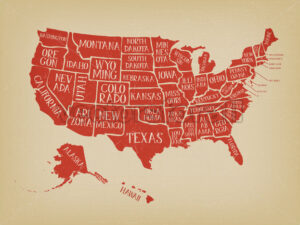 Vintage American Map Poster With States Names - Vectorsforall