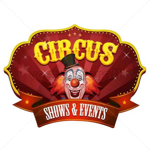 Carnival Circus Banner With Clown Head - Vectorsforall