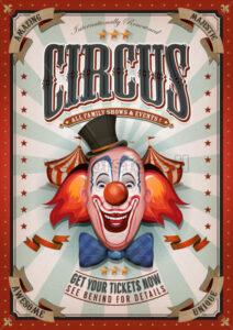 Vintage Circus Poster With Big Top - Vectorsforall