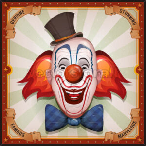 Vintage Circus Poster With Clown Head - Vectorsforall