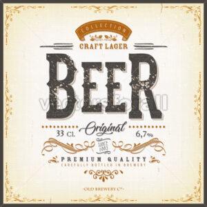 Vintage Beer Label For Bottle - Vectorsforall