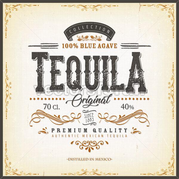 Vintage Mexican Tequila Label For Bottle - Vectorsforall