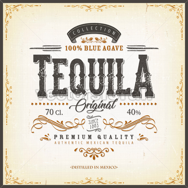 Vintage Mexican Tequila Label For Bottle - Vectorsforall