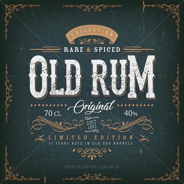 Vintage Old Rum Label For Bottle - Vectorsforall