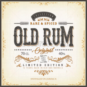 Vintage Old Rum Label For Bottle - Vectorsforall