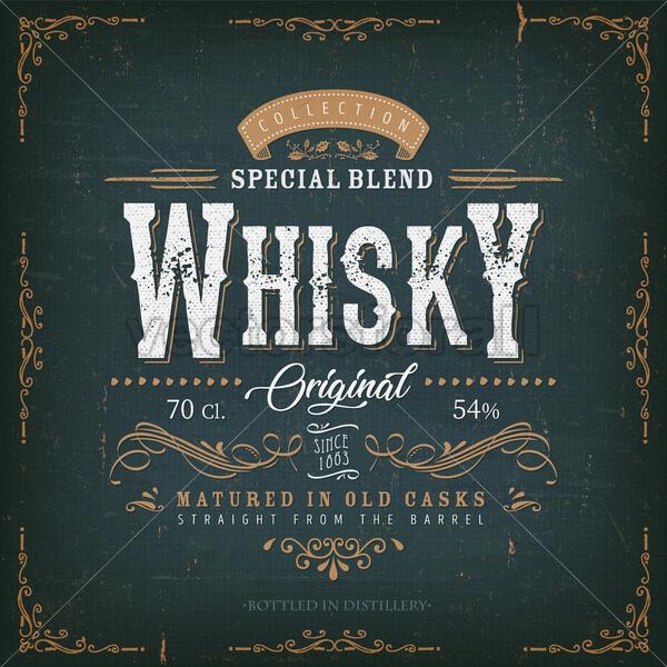 Vintage Whisky Label For Bottle - Vectorsforall