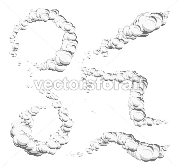 Cartoon Clouds, Smoke And Wind Spiral - Vectorsforall