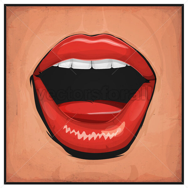 Comic Books Girl Mouth With Red Lipsticks - Vectorsforall