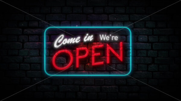 We're Open Neon Sign Background Seamless Looping - Vectorsforall