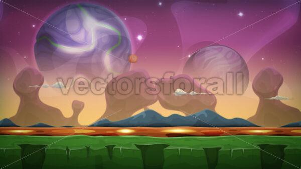 Cartoon Fantasy Alien Background Seamless Looping - Vectorsforall
