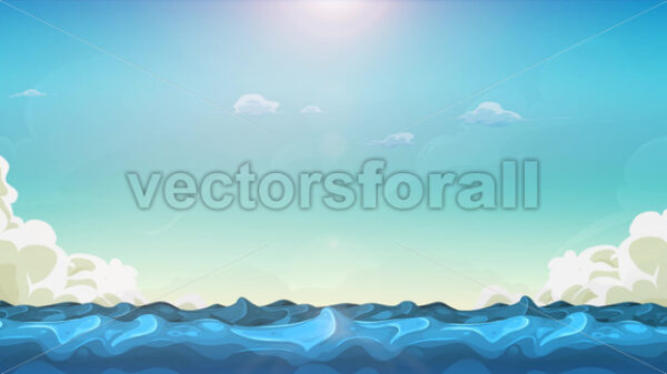 Cartoon Ocean Landscape Background Loop - Vectorsforall