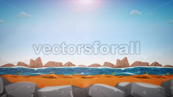 Cartoon River Landscape Background Loop - Vectorsforall