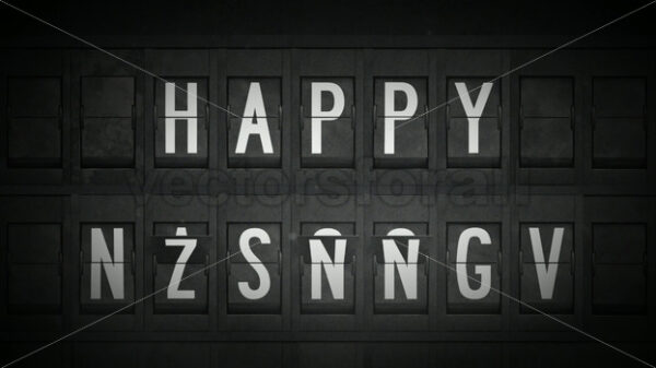 Happy New Year Greetings With Airport Split Flap Letters - Vectorsforall