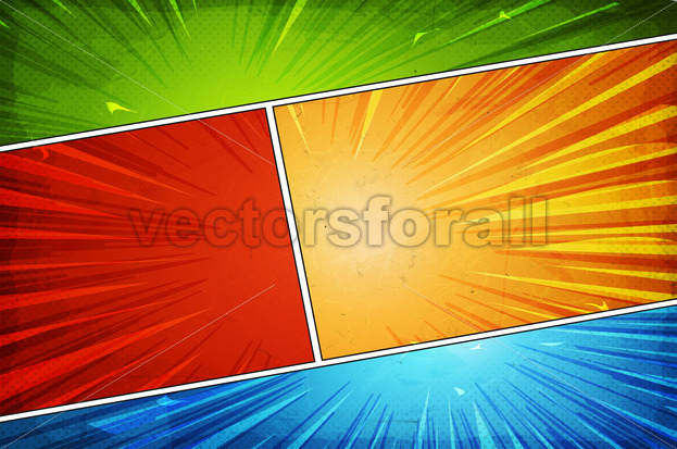 Comic Book Action Layout Background With Power Fx - Vectorsforall