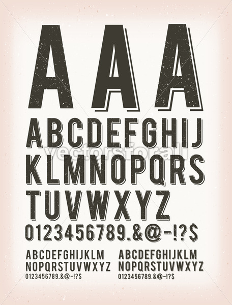 Vintage Grunge And Tattoo ABC Font - Vectorsforall