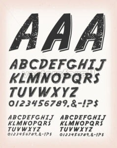 Vintage Grunge And Tattoo Comic ABC Font - Vectorsforall