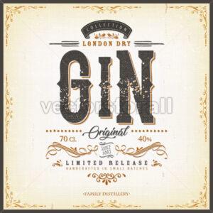 Vintage London Gin Label For Bottle - Vectorsforall
