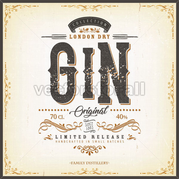 Vintage London Gin Label For Bottle - Vectorsforall