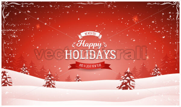 Vintage Red Christmas Landscape Background - Vectorsforall