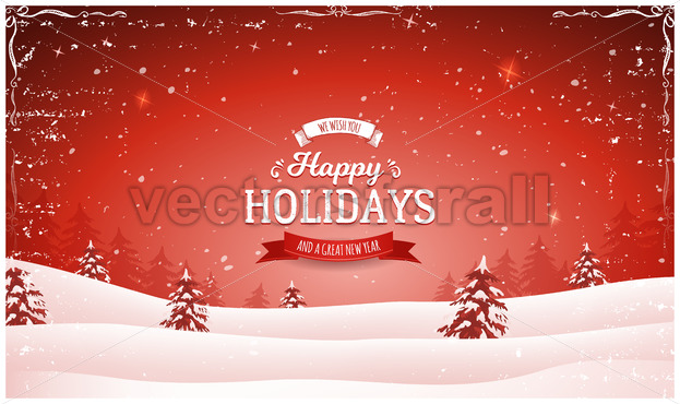 Vintage Red Christmas Landscape Background - Vectorsforall