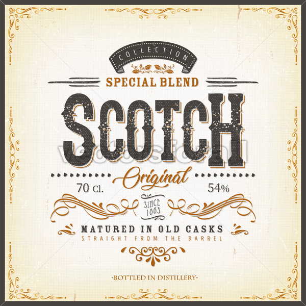 Vintage Scotch Whisky Label For Bottle - Vectorsforall