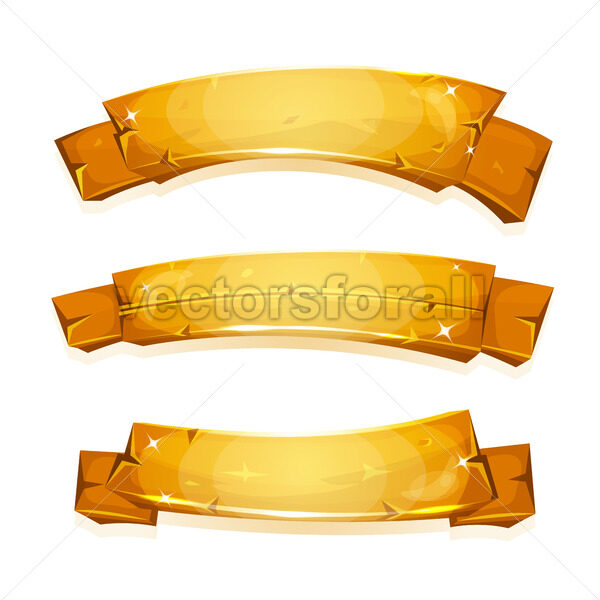 Comic Gold Banners And Ribbons - Vectorsforall