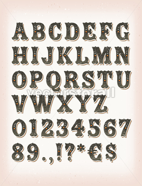 Vintage Western Circus And Tattoo ABC Font - Vectorsforall