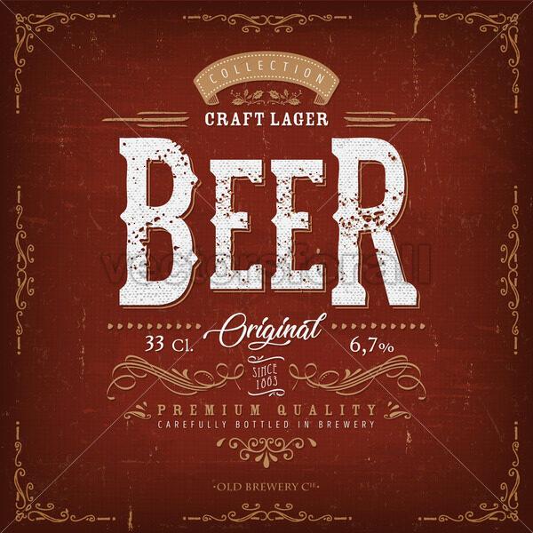 Vintage Beer Label For Bottle - Vectorsforall