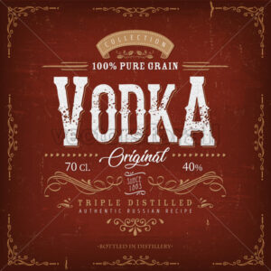 Vintage Vodka Label For Bottle - Vectorsforall